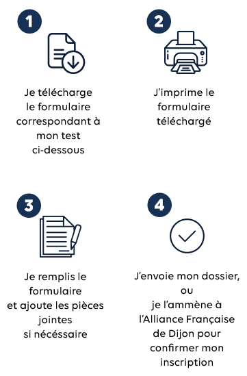 Instructions de téléchargement pour les tests d'évaluation de l'Alliance française de Dijon